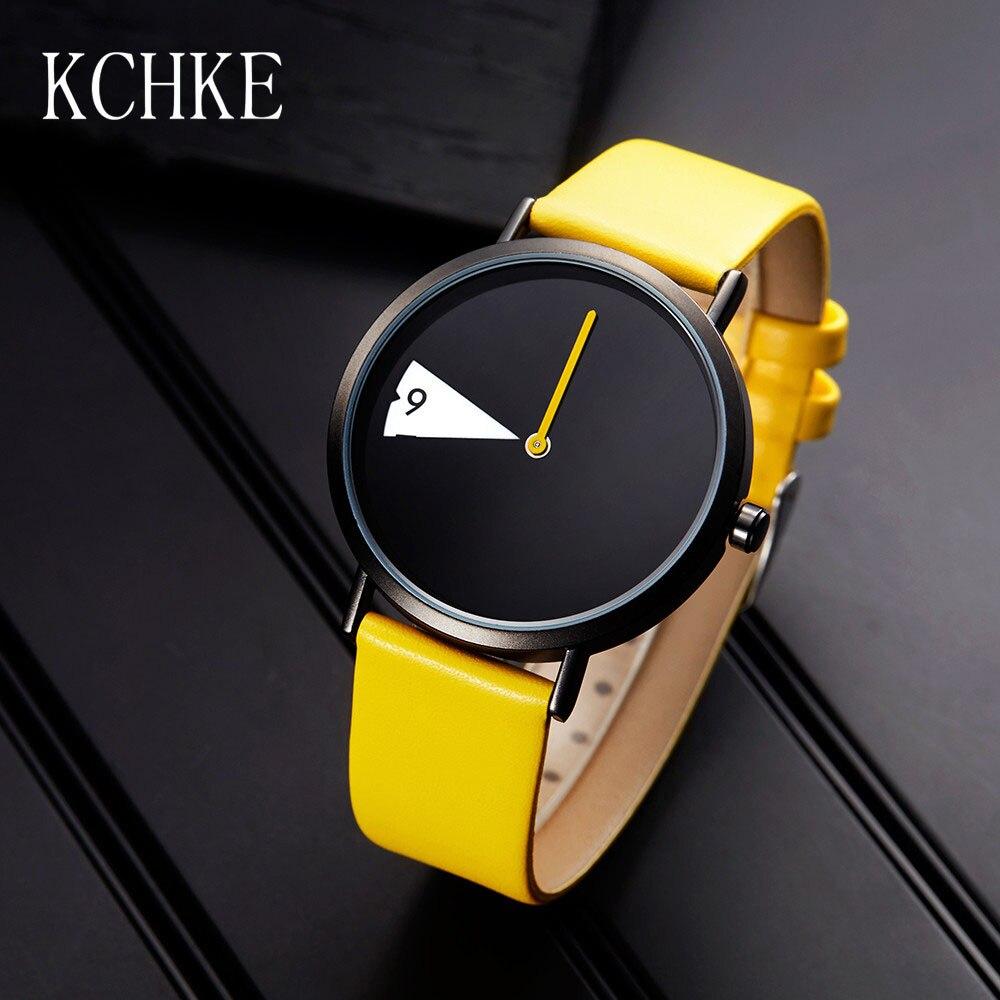 KCHKE New Women's Watch Creative Ladies Fashion Watch Yellow Leather Rotary Watch Female Clock