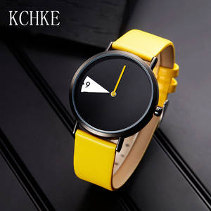 KCHKE New Women's Watch Creative Ladies Fashion Watch Yellow Leather Rotary Watch Female Clock
