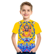 2021 summer new 3D printing quick-drying clothing boys and girls loose and comfortable milk silk fabric 4T-16T