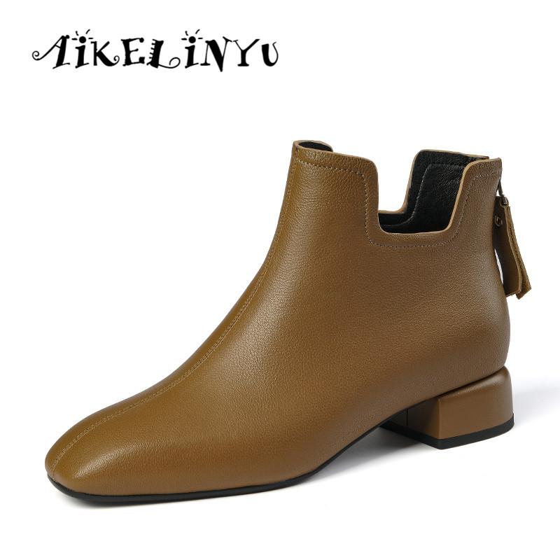 AIKELINYU Fashion Womens boots Spring/Autumn Genuine Leather Boots Woman Basic High Top Ankle Booties Pump Med Heels Shoe