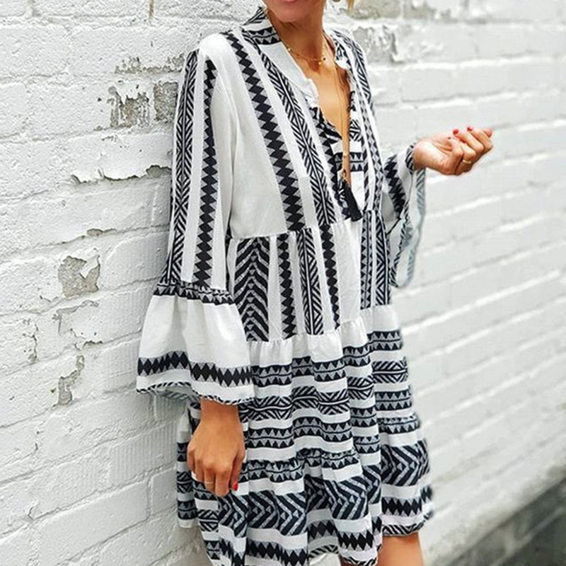 UIDEAZONE Boho Striped Geometry Print Women Dress Bohemian Loose Flare Sleeve V Neck Ladies Dresses 2020 Summer Beach Vestidos