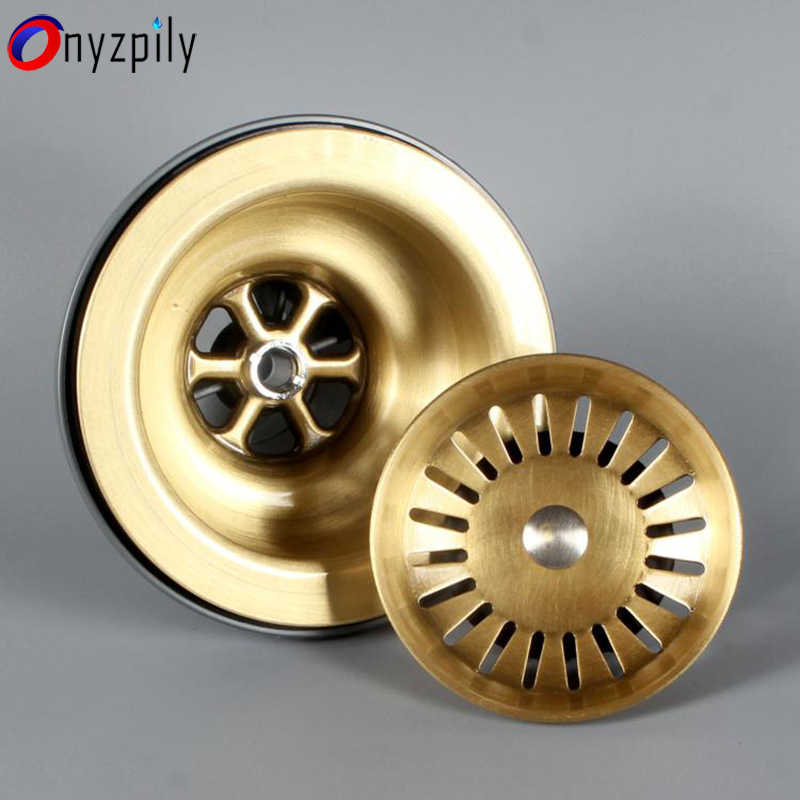 onyzpily free shipping brushed brass 3 5 kitchen sink drain strainer sink with removable sink strainer basket and seal lid