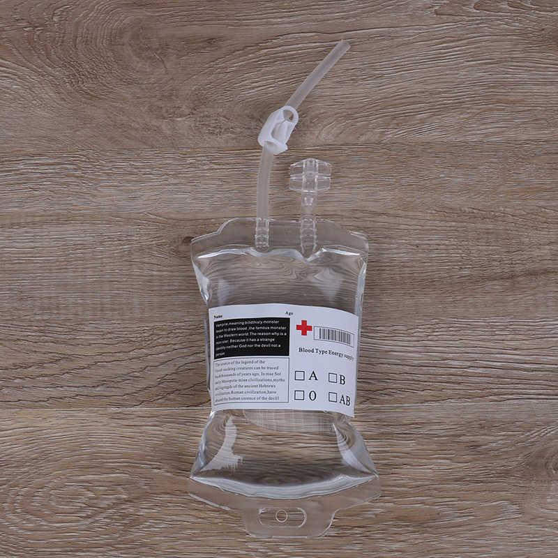 PVC חומר 350ml לשימוש חוזר דם משקה אנרגיה תיק שקוף רפואי ליל כל הקדושים ערפד פאוץ אבזרי