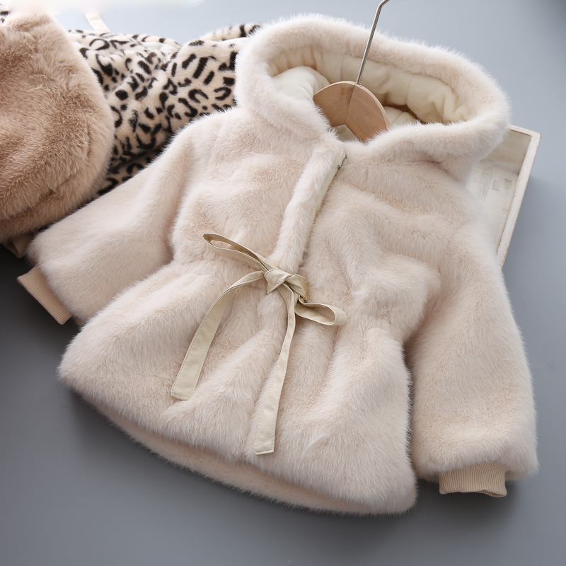 2020 Girls Hooded Mao Mao Coat Warm Coat Cotton-padded Jacket  Baby Girl Winter Clothes  Toddler Girl Fall Clothes 2020