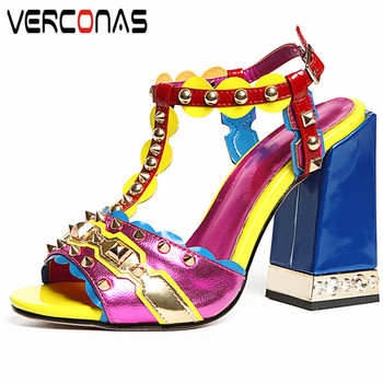VERCONAS Prom Shoes Woman Pumps Woman Sandals Summer Genuine  Leather  Rivets Metal Decoration Round Toe High Heels Shoes Woman