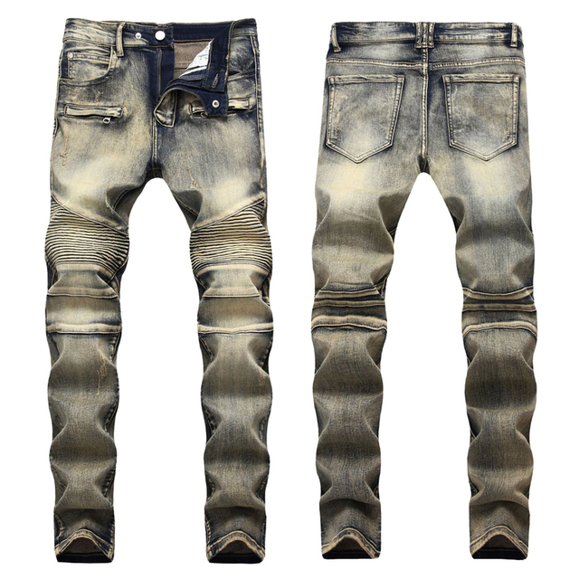 2019 Fashion Hip Hop Patch Men Retro Jeans Knee Rap Hole Zipped Biker Jeans Men Loose Slim Destroyed Torn Ripped Denim Man Jeans