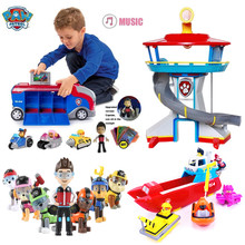 Paw Patrol Dog Set Cosplay Plastic Toy Combination Patrulla Canina Skye Marshall Ryder Character Car Child Car Toy with Sound