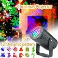 Рождественский 12 Узор Автоматический вращающийся светодиодный прожектор водонепроницаемый внутренний Рождественский прожектор ночные о...