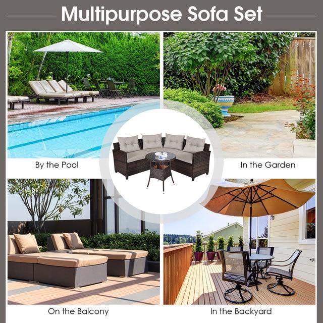4PCS Furniture Set Outdoor Patio Rattan Cushioned Sofa  w/ Table  5