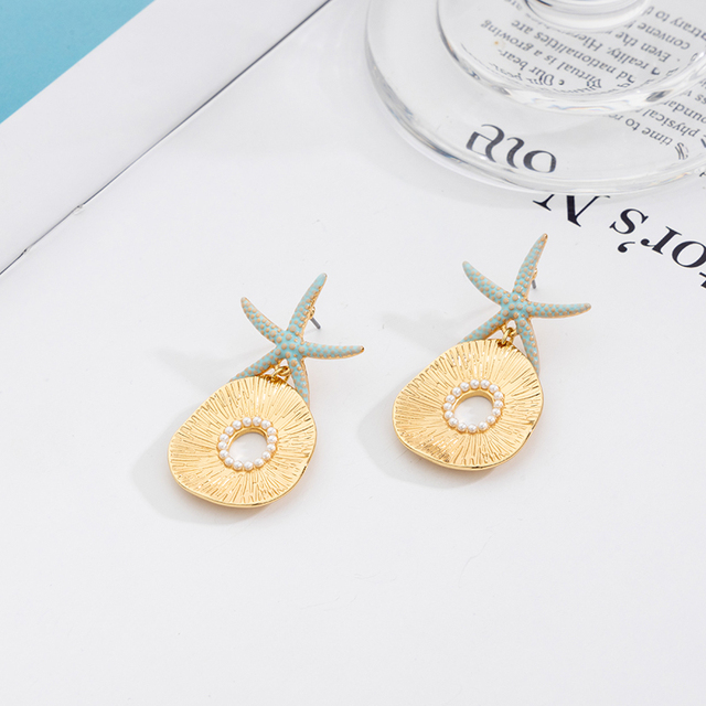 Jaeeyin 2021 New Arrival Bohemia Blue Enamel Ocean Starfish Conch Shell Stud Earrings Gold Color Jewelry Gift For Girls Children 5