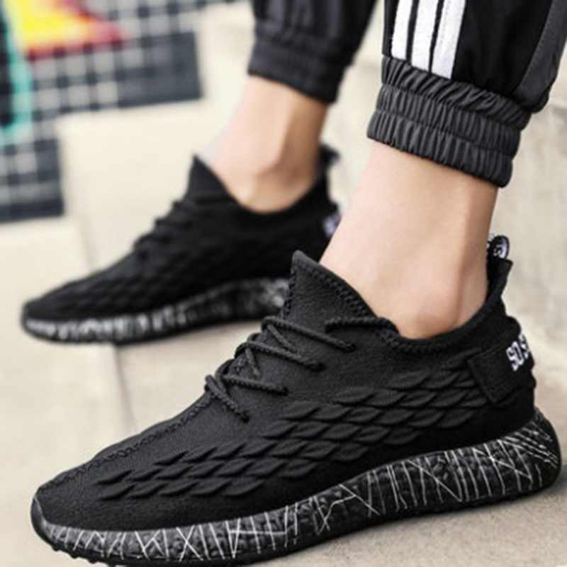 PUIMENTIUA รองเท้าผ้าใบผู้ชาย Breathable สบายๆลื่นรองเท้า Lace up สวมใส่ฤดูร้อนกีฬากลางแจ้งรองเท้ากีฬา air mesh รองเท้า