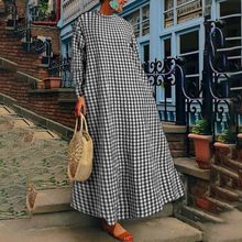 ZANZEA 2021 Fashion Women's Check Sundress Spring Maxi Dress Casual Long Sleeve Vestidos Female Turtleneck Robe Femme Plus Size