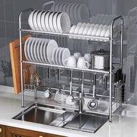 304 Stainless Steel Dish Rack Sink Drain Rack Kitchen Racks Pool Drying Bowl Filter Water Dish Rack 2 Layer Home