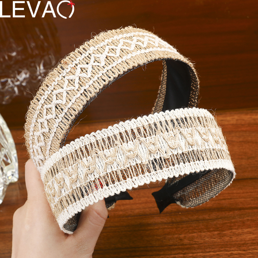 Levao 2020 Boho Weaving Hairband Creative Knitted Head Bands Handmade Headbands For Women NON-Slip Hair Hoop Accessories