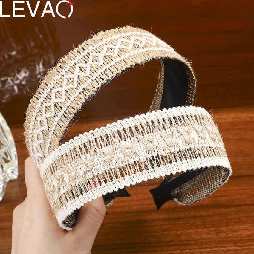 Levao 2020 Boho Weaving Hairband Creative Knitted Head Bands Handmade Headbands For Women NON-Slip Hair Hoop Accessories