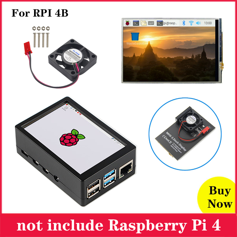 Raspberry Pi 3.5 Inch Touchscreen MHS 3.5inch Display 480*320 LCD With ABS Case Cooling Fan For Raspberry Pi 4 Model B 4B