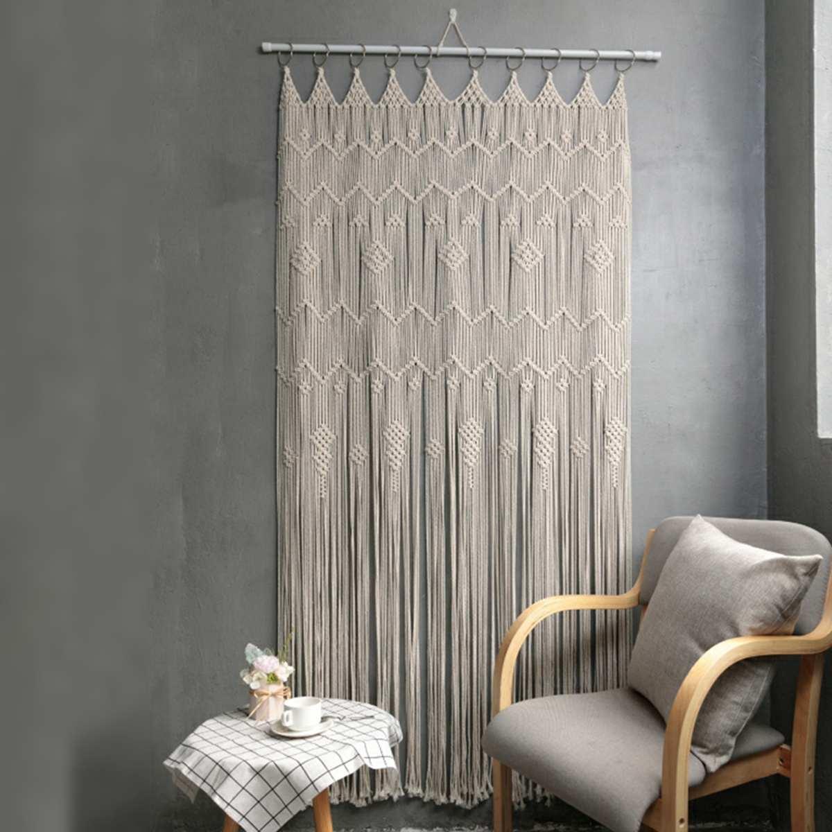 4 Тип в богемном стиле ручной работы стене висит Тканый гобелен для дверей и окон в комнате Шторы свадебный фон макраме висит Шторы домашний ...