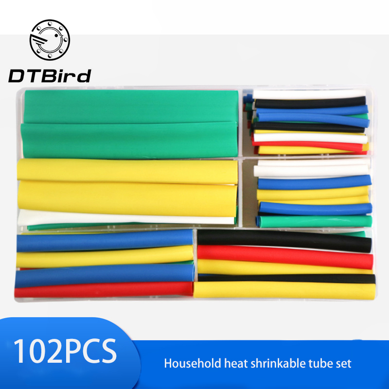 102PCS Triple Shrinkage With Adhesive Shrink Tube Insulation Color Double-Wall Tube Boxed Shrink Tube With Plastic Box