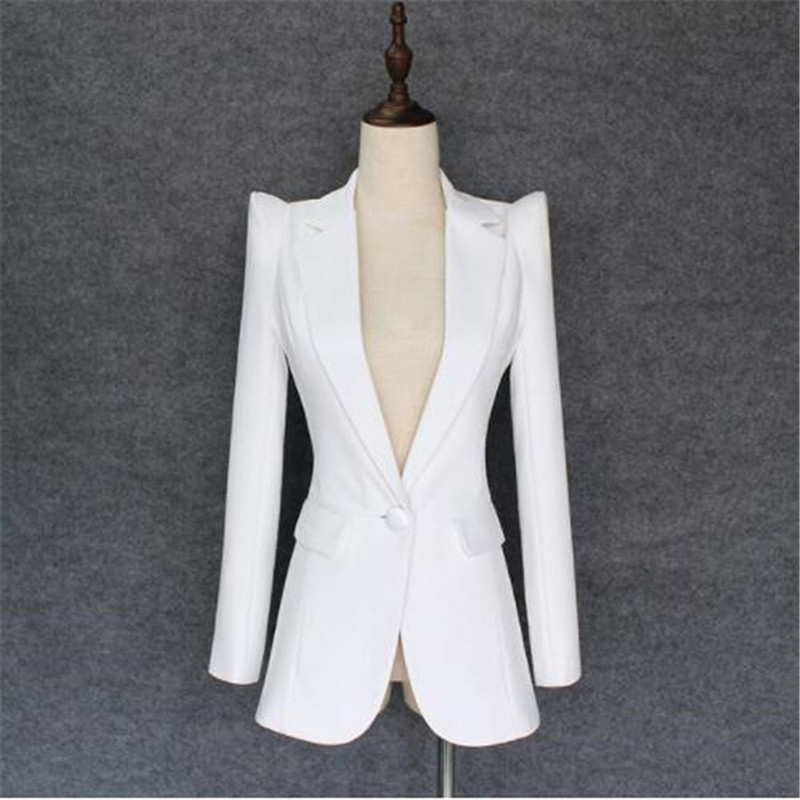 HIGH QUALITY New Fashion 2018 Designer Blazer Jacket Women's Soaring Shoulders Single Button Blazer Outer Wear