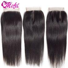 Mifil 4x4 закрытие бразильские волосы 130% плотность Remy человеческие волосы средняя три части прямые волосы закрытие