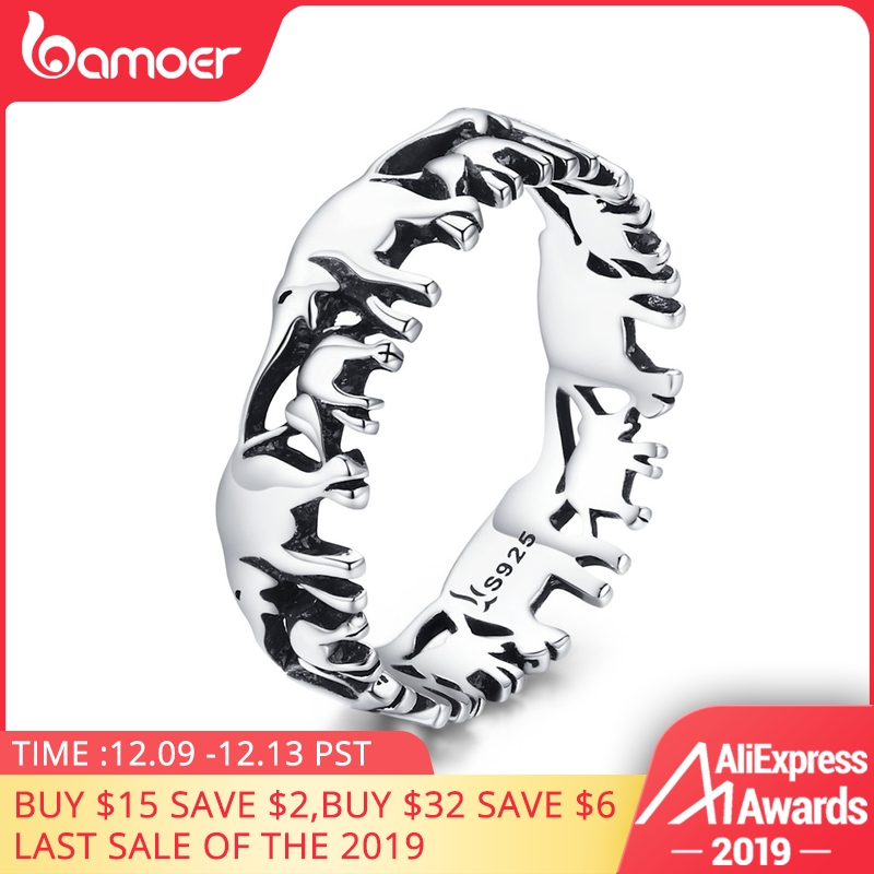 BAMOER 925 Sterling Silver Stackable Animal Collection Elephant Family Finger Rings For Women Jewelyr SCR344