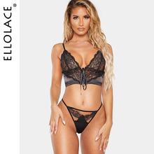 Ellolace Sexy Lace Underwear Set Women Deep-V Transparent Bra Party Sets Lingerie Sets Female Lace Up Mesh See Through Bra Set see through lace lingerie set