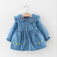 baby girl autumn trumpet sleeves coat girls cute doll collar  windbreaker Infant ocean double pocket jacket недорого