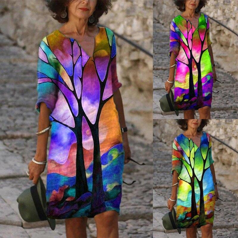 Женская футболка с коротким рукавом и «Лодочка»/с вырезом «лодочка платья с пышной юбкой повседневное абстрактный Платье с принтом размера...