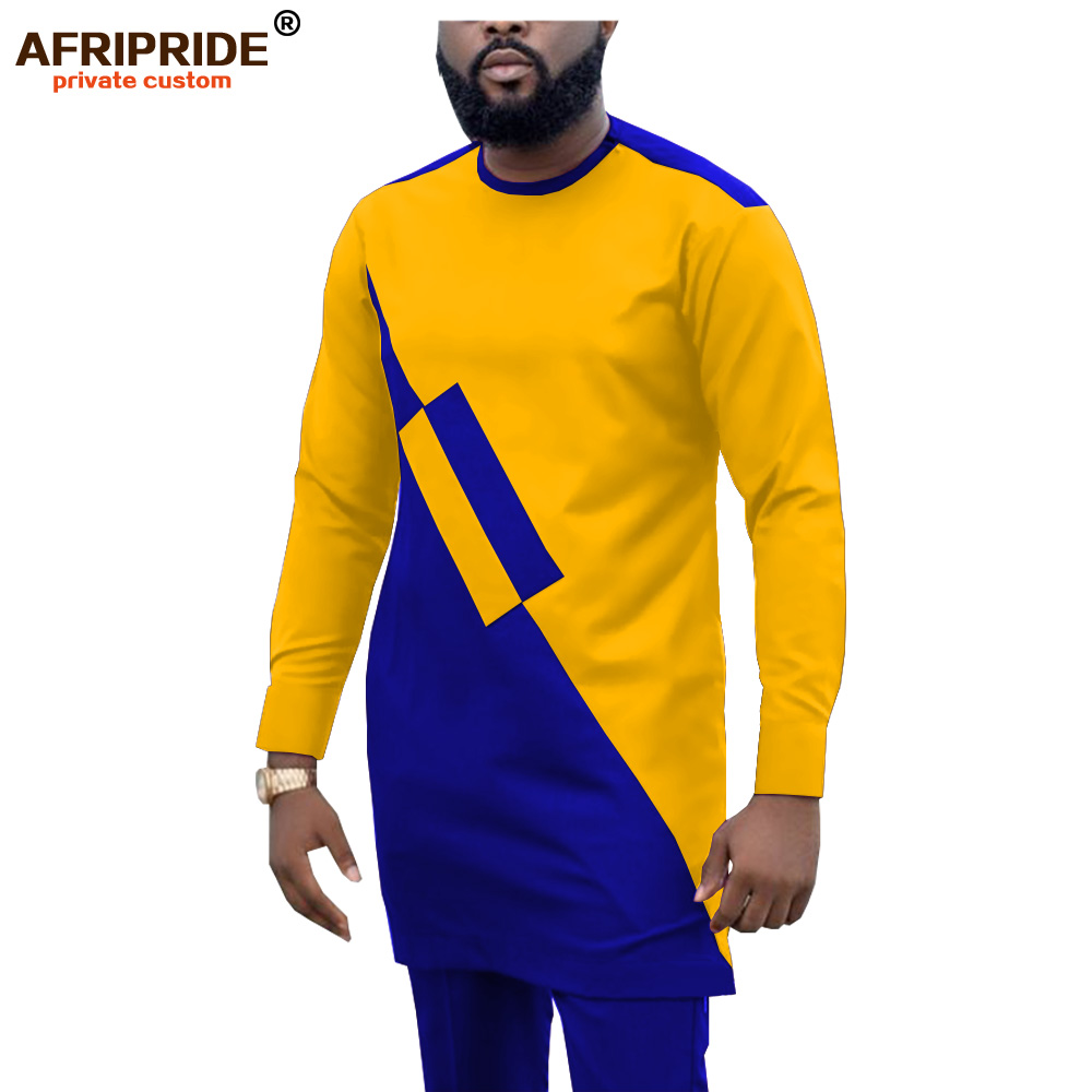 2019 Dashiki Men Tracksuit 2 Piece African Shirts and Ankara Pants Suits Plus Size Outwear Clothes Wear AFRIPRIDE A1916057