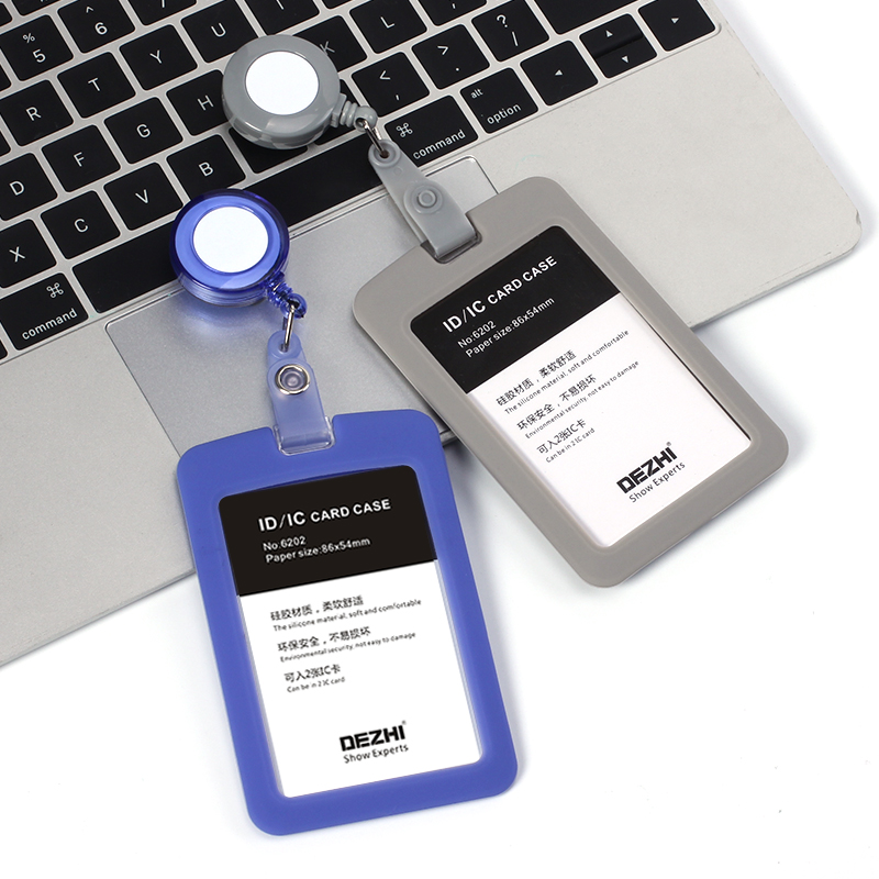 Stretchable And Easy To Pull Fastener Enterprise Staff Hospital Worker Pocket Clip Lovely Silicone Card Cover