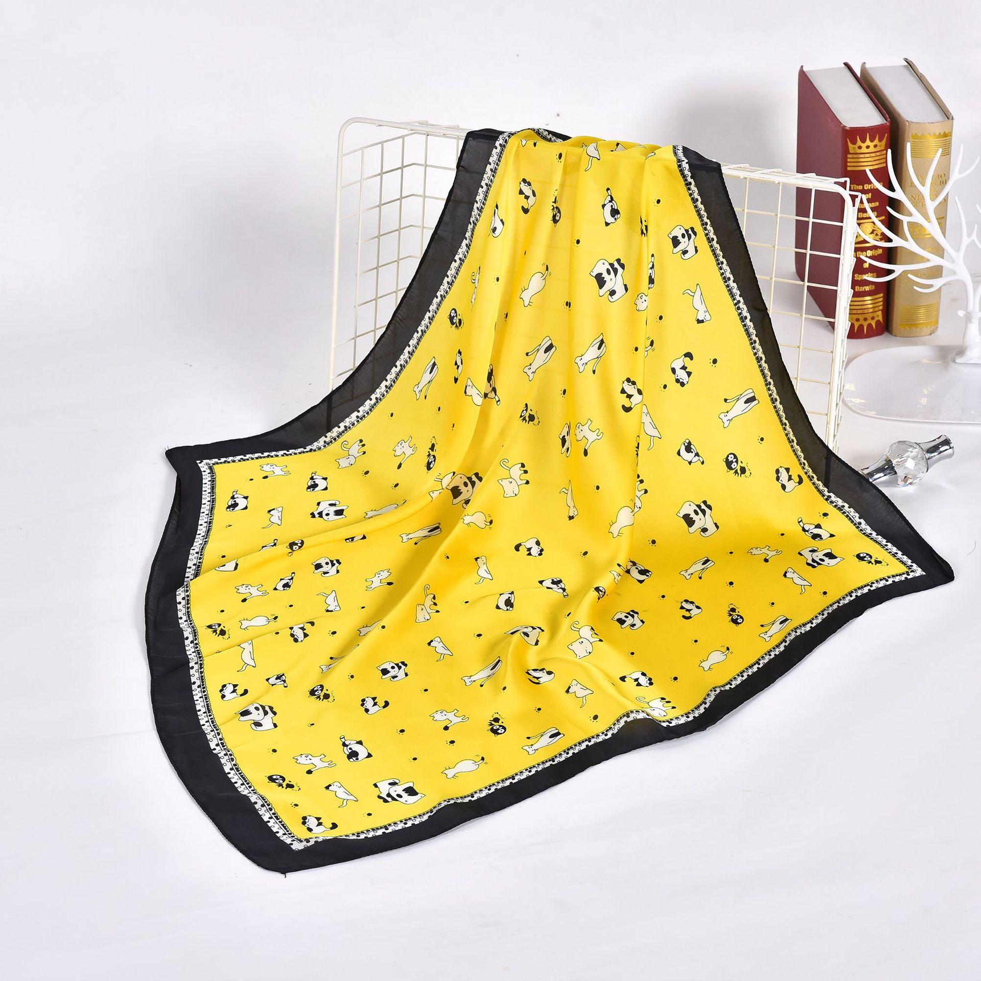 Модный платок, женский шарф для волос, платок с мультяшным принтом, Шелковый Атласный платок, шарфы для женщин, 70*70 см, Квадратный маленький