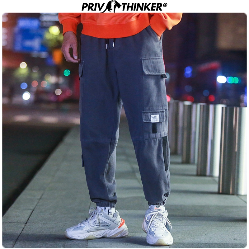Privathinker Mens Oversize Fashion Loose Cargo Pants Men Hip Hop Streetwear Harem Joggers 2019 Male Autumn Harajuku Trousers New