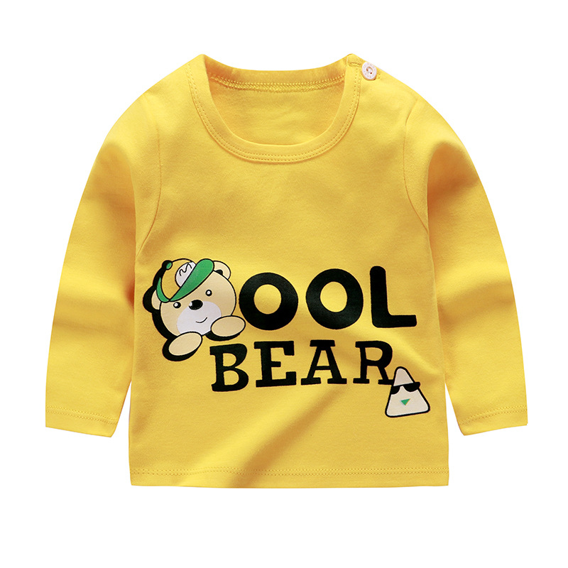От 6 месяцев до 5 лет унисекс; сезон осень-зима; хлопковая футболка с длинными рукавами и героями мультфильмов; футболки для маленьких мальчиков и девочек; детская повседневная одежда; одежда с круглым вырезом - Цвет: Q58