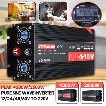 цена на Inverter 220V 12V/24V/48/60V 2600/4200W Voltage transformer Pure Sine Wave Power Inverter DC12V to AC 220V Converter+LCD Display