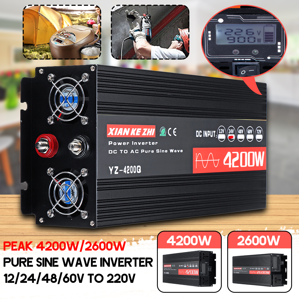 Inverter 220V 12V/24V/48V/60V 2600W/4200W Voltage Transformer Pure sine Wave Inverter AC 220V Car Converter With LCD Display