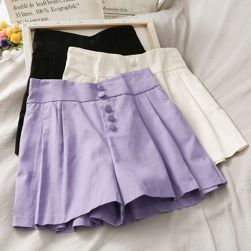 Korean Style Breasted High Waist Loose Wide Leg Shorts Female 2020 Summer New Popular Taro Purple Student Wild Casual Shorts