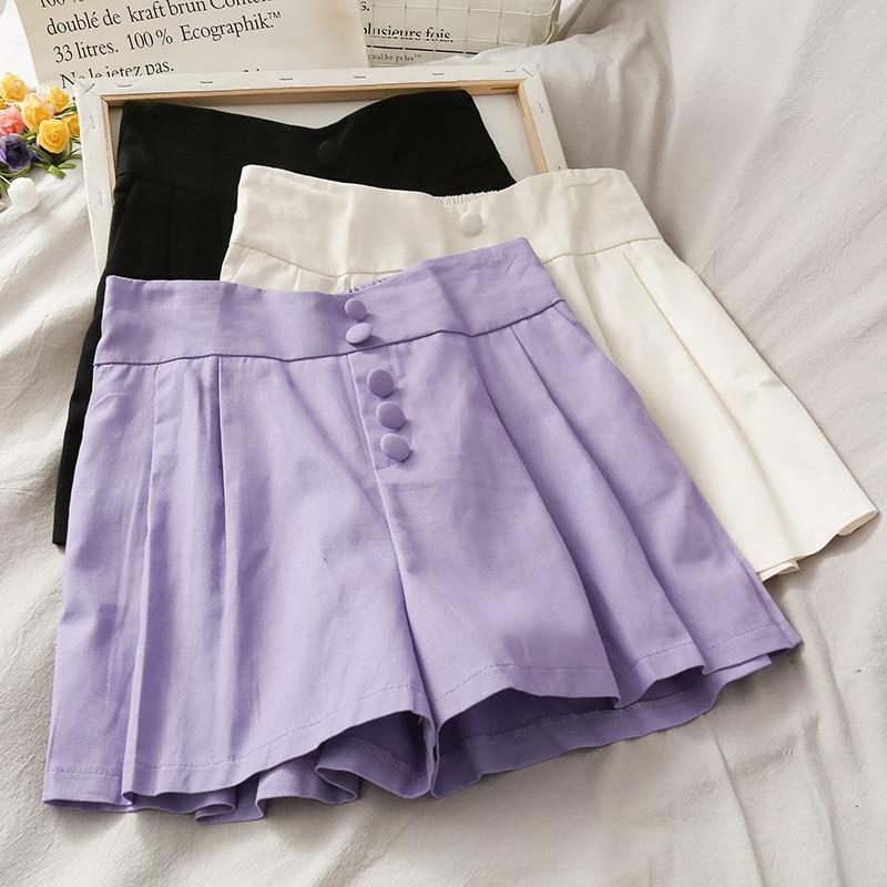 Korean Style Breasted High Waist Loose Wide Leg Shorts Female 2020 Summer New Popular Taro Purple Student Wild Casual Shorts