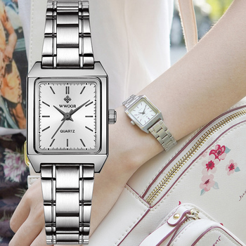 Montre Femme WWOOR 2020 Luxury Brand Ladies Watch Women's Square Watch Fashion Elegant Women Quartz Wrist Watch Relogio Feminino vintage fashion square watch blingbling crystals women dress wristwatches quality melissa quartz relogio feminino montre fs12173