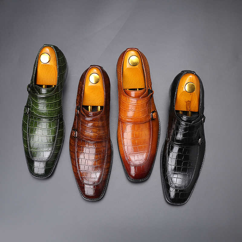 Men Dress Shoes Handmade Personality trend Paty Leather Wedding Shoes Men Flats Leather Oxfords Formal Shoes