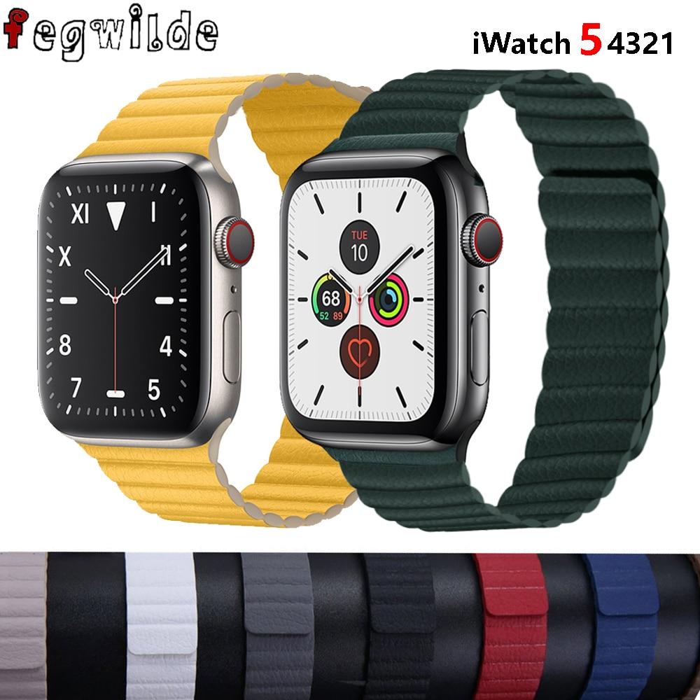 Bracelet à boucle en cuir pour bracelet de montre apple correa montre apple 5 4 3 2 1 42mm iWatch 4 bandes 44mm 40mm 38mm bracelet à fermeture magnétique