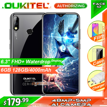 "OUKITEL Y4800 6.3 ""FHD + תצוגת 6GB RAM 128GB ROM Smartphone אנדרואיד 9.0 48MP + 5MP טביעות אצבע 4000mAh 9V/2A פנים מזהה נייד טלפון"