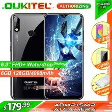 هاتف ذكي OUKITEL Y4800 بشاشة مقاس 6.3 بوصة بتقنية FHD + شاشة بذاكرة وصول عشوائي سعة 6 جيجابايت وذاكرة قراءة فقط سعة 128 جيجابايت يعمل بنظام الأندرويد 9.0 بدقة 48 ميجابكسل + 5 ميجابكسل وبصمة الإصبع وبطارية 4000 مللي أمبير/الساعة 9 فولت/2 أمبير هاتف محمول مزود بخاصية التعرف على الوجه