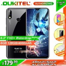 OUKITEL teléfono inteligente Y4800, pantalla FHD de 6,3 pulgadas, 6GB RAM 128GB ROM, Android 9,0, + 5MP 48MP, reconocimiento de huella dactilar, 4000mAh, 9V/2A, identificación facial