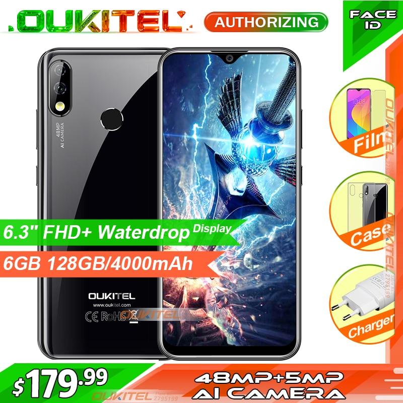 """Oukitel y4800 6.3 """"fhd + display 6 gb ram 128 gb rom smartphone android 9.0 48mp + 5mp impressão digital 4000 mah 9 v/2a face id telefone móvel"""