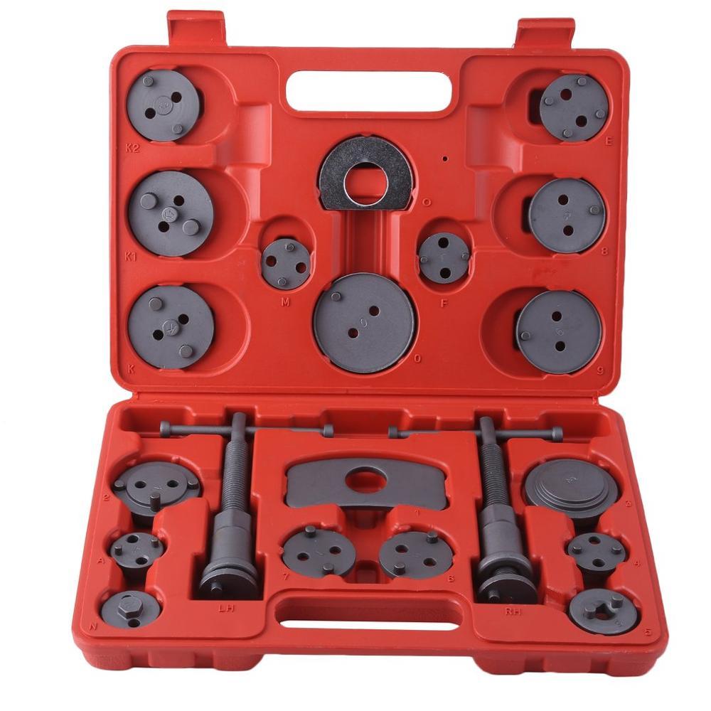 (ES) universel 22 pièces étrier de frein à disque vent retour Kit pour remplacement de plaquette de frein pour la plupart des voitures Garage réparation outil avec étui de transport