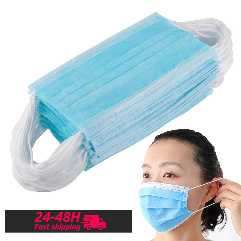 Disposable Face Mouth Mask 3-layer Filter Meltblown Cloth Mask Anti Dust Safety Mask Breathable Desposable Masks 50pcs 100pcs