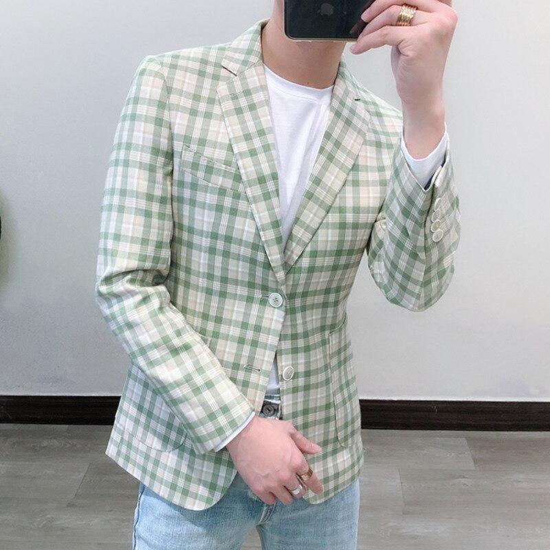Stylish Blazers For Men Lattice Mens Blazer Suit Jacket Business Casual Blazers Hombre Formal Party Wedding Blazers Men Suits