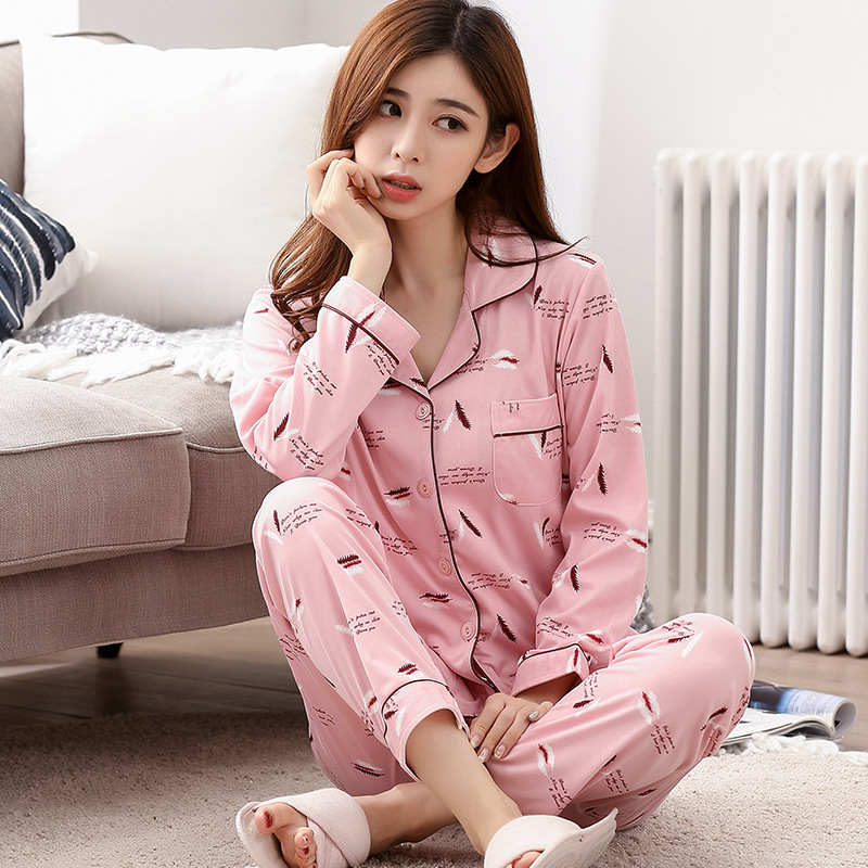 [Htc Sheng] Spring And Autumn Cardigan WOMEN'S Pajamas Pink Feather Cotton Tracksuit