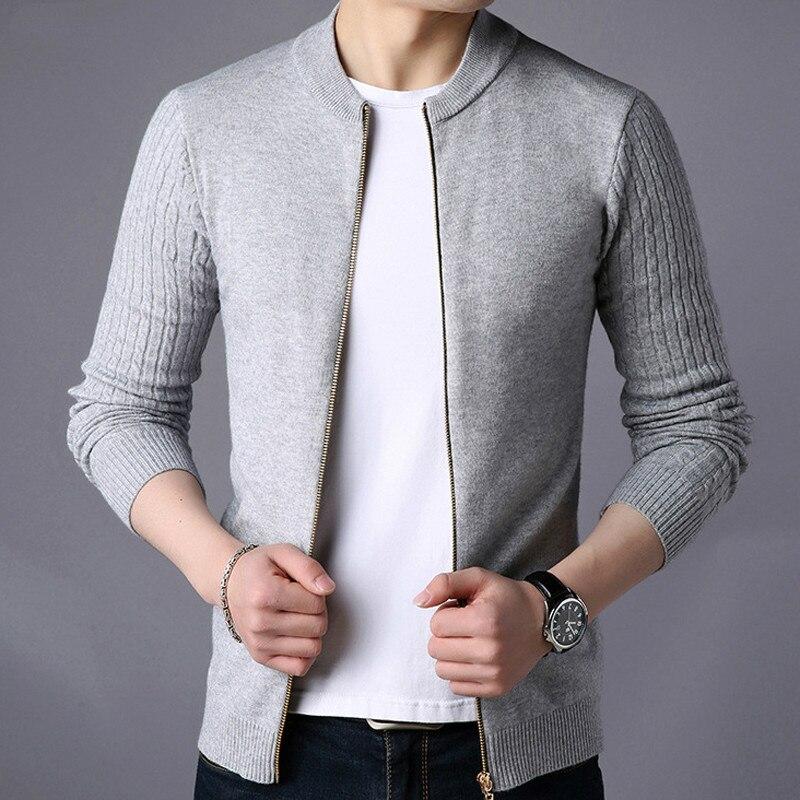 Men's Sweater Male Jacket Solid Color Sweaters Knitwear Warm Sweatercoat Cardigans Men Clothing