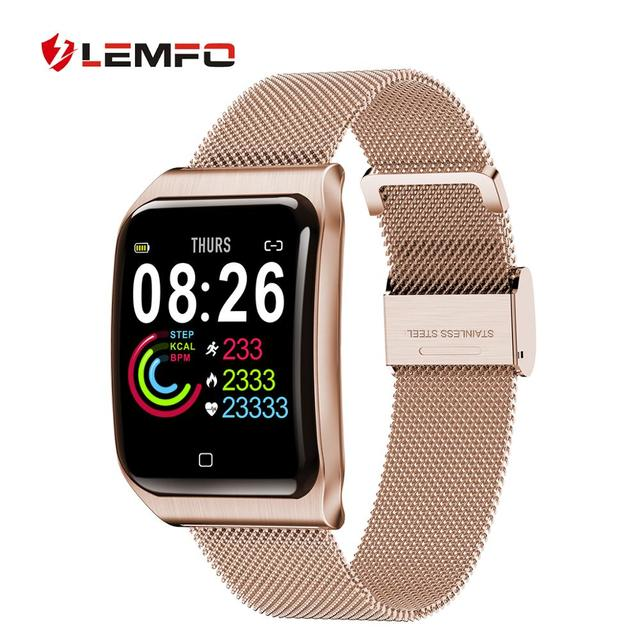 LEMFO All-metal Smart Watch IP 68 Waterproof Heart Rate Blood Pressure Monitoring T1 Smart Watch Men for Android IOS